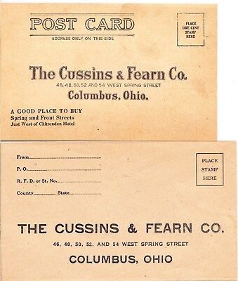 Advertising Return Envelope And Postcard: Cussins & Fearn Co. Columbus Ohio