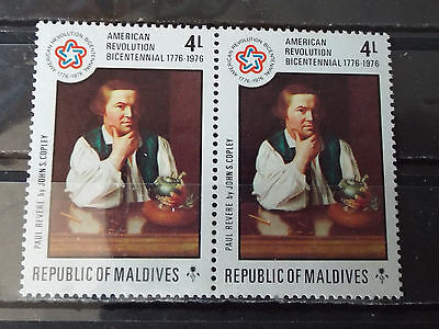 Paire 2 timbres neuf Maldives : Paul Revere