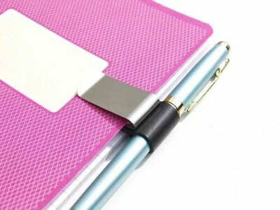 Pen Clip for Notebook, Clipboard, Journal Diary Silver Colour Leather Holder NEW