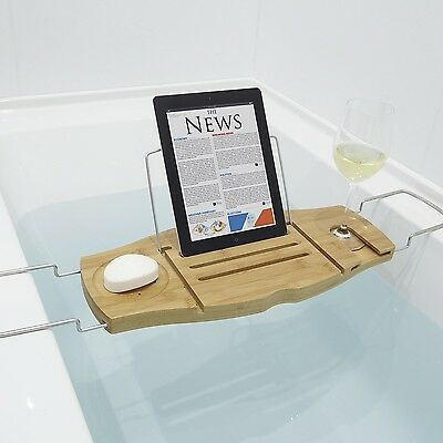 UMBRA Aquala Bamboo and Chrome Bathtub Caddy - $89.99 | PicClick