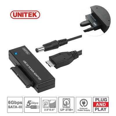 "UNITEK USB3.0 to SATA 2.5""/3.5"" HDD SSD Hard Drive Converter Cable+Power Adapter"