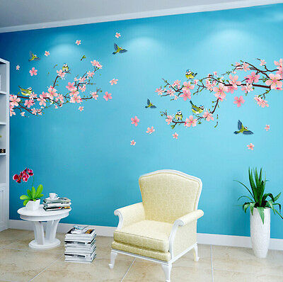 AU Removable Peach Plum Cherry Blossom Flower Butterfly Mural Wall Decal Sticker