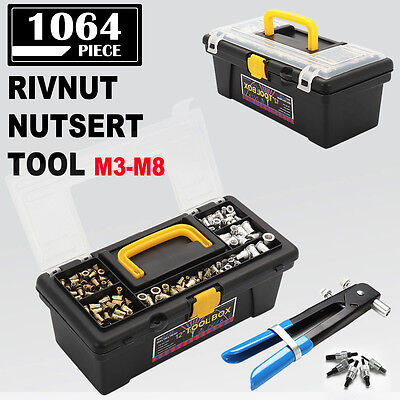 1064pcs Blind Rivet Nut Tool Set Nutsert Insert Threaded Rivnut Gun Kit M3 to M8