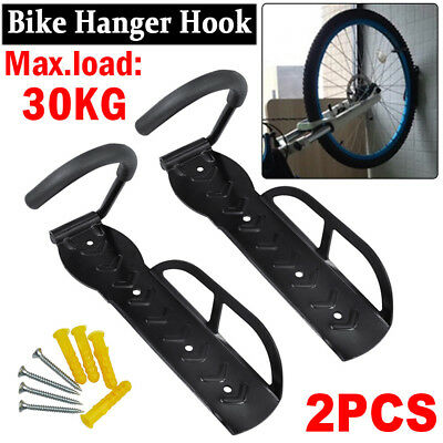 2Pcs Steel Bicycle Wall Rack Mount Bike Storage Hanger Hook Garage Stand Holder