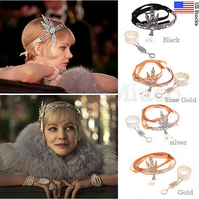 1920s Flapper Great Gatsby Headpiece Headband Bracelet Ring Set Accessories Hair