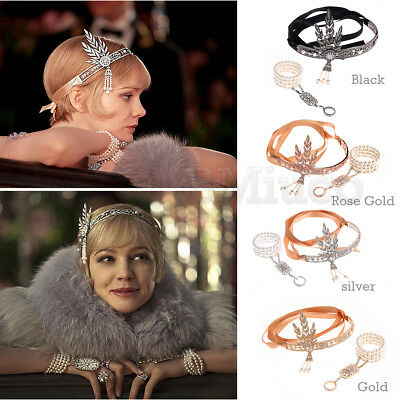 1920s Flapper Great Gatsby Headpiece 20s Pearl Bridal Headband Bracelet Ring Set