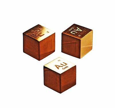 Gold Metal 10mm Density Cube 99.99% Pure for Element Collection