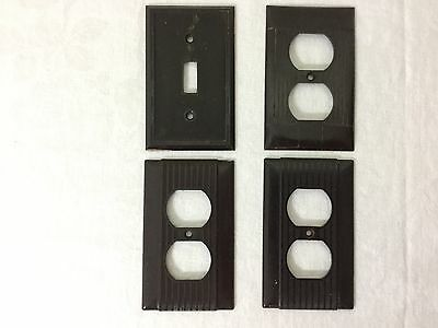 Lot of 4 Vintage Brown Plate Covers (1) switch, (3) Outlet. #HMDC100174