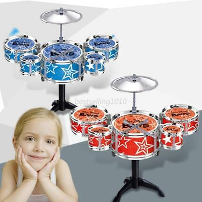 Kids Jazz Drum Kit 3 Rack Drums Set Percussion Musical Instruments Child Toys UK