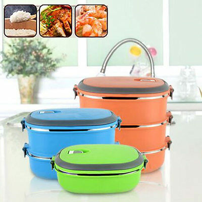 2Layers Stainless Thermal Insulated Lunch Box Picnic Camp Bento Food Container A