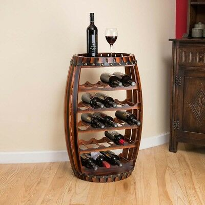 Christow Wooden Barrel Wine Rack Free Standing 23 Bottle Holder Oak Effect