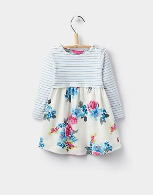 Joules 124442 Baby Girls Layla Print Mix Dress in 100% Cotton in Lavender Stripe