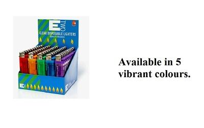 50pcs ETWO Clear disposable lighters (5 vibrant colors)