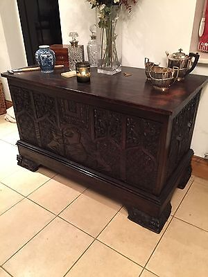 Large, Beautifully Carved Oak Coffer