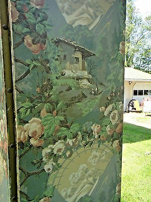 ANTIQUE ROOM DIVIDER CHANGING SCREEN victorian cabbage roses Asian style