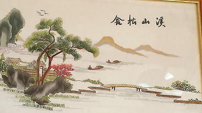 Chinese Embroidery On Silk Material,landscape With Boats,framed Under Glass