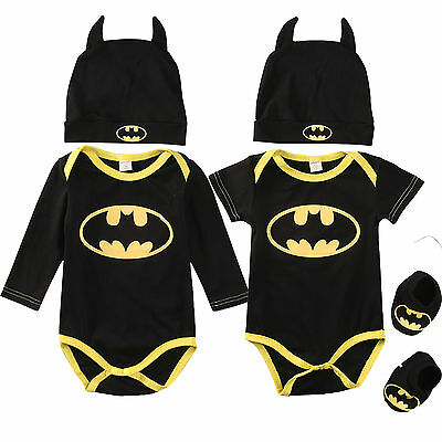 Super Hero Batman Halloween Costumes Baby Boy Babygrow Romper+Shoes+Hat 3Pcs Set