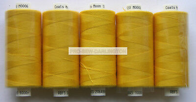 5 x REELS GOLD MOON POLYESTER SEWING THREAD COTTON 120s ( 06 )
