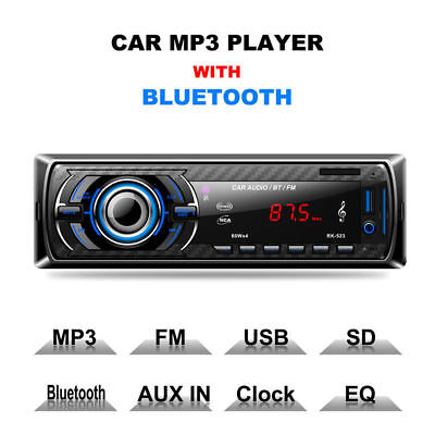 1 DIN Car Stereo 12V FM Radio SD/USBBluetooth Remote Head Unit MP3 Player New