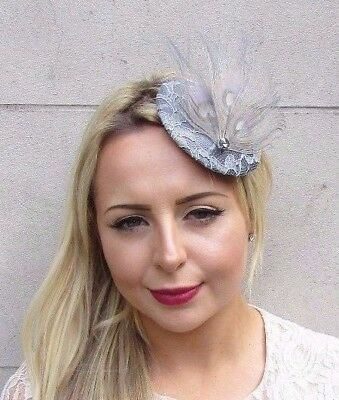 Grey Peacock Feather Pillbox Hat Fascinator Hair Clip Races Vintage Wedding 3867