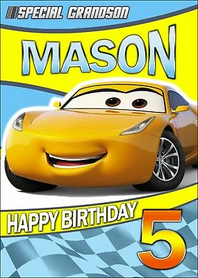 Cars 3 PERSONALISED Birthday Card ANY NAME AGE RELATION SON NEPHEW Cruz Ramirez