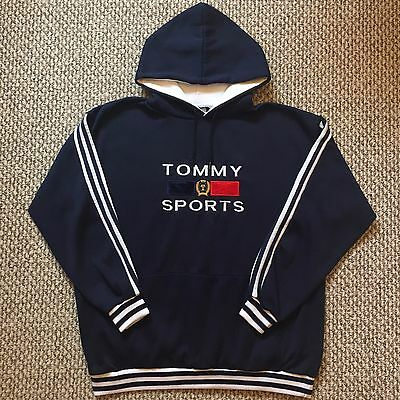 Vintage Vtg Bootleg Rare Tommy Hilfiger Sports Logo Spell Out Hoodie Sweatshirt