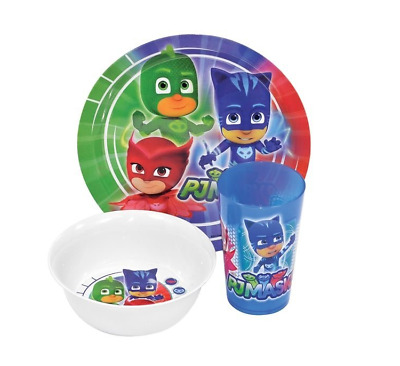 Pj Masks 3 Piece Mealtime Set Cup Plate Bowl Owlette Gekko Catboy Dinnerware New