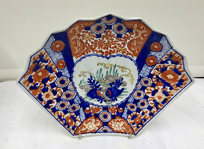 Antique Oriental Japanese Porcelain  Imari Porcelain Fan Dish