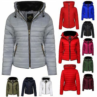 Ladies Quilted Padded Puffer Bubble Fur Collar Warm Thick New Womens Jacket Coat