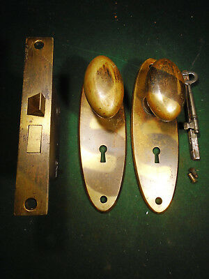 ONE SET of CAST BRASS JAPANNED DOOR KNOBS, PLATES, MORTISE LOCK & KEY   (9092-3)