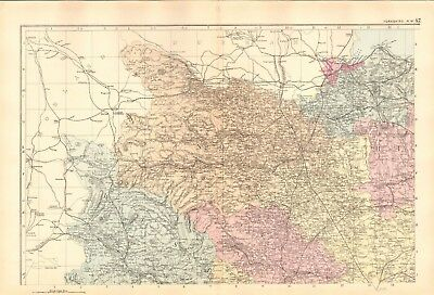 1891 Antique Map - Yorkshire, North West, Parliamentary Boundaries, Railways