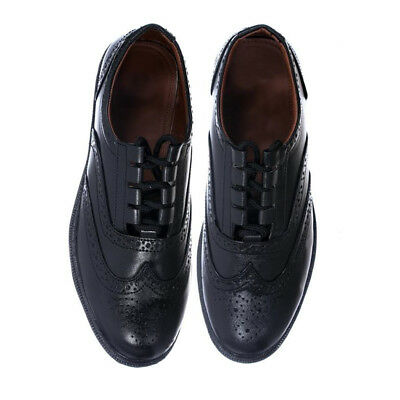New Mens Black Genuine Leather Ghillie Brogues Shoes For Kilts - Size 6 To 13