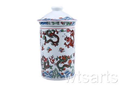 Nine Dragons Chinese Three Part Tea Mug with Infuser. Cup with Lid