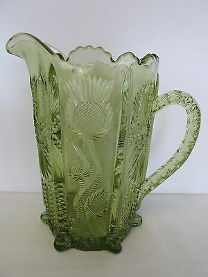 """L.g. Wright Reproduction Eapg 1910 Higbee Olive Glass 7"""" Pitcher"""