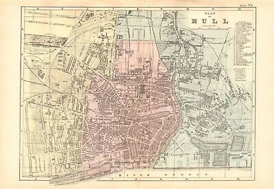 1891 Antique Map - Town Plan, Hull. With Major Buildings