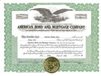 American Bond & Mortgage Company > 1968 Pennsylvania old stock certificate