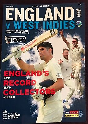 England V West Indies Lords Test Match 7-11th Sept 2017. *OFFICIAL PROGRAMME*