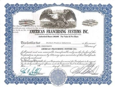 American Franchising Systems > 1968 Pennsylvania old stock certificate