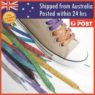 Glitter Bling Flat Shoelaces Sparkle Trendy Shoe lace shiny metallic Shoe laces