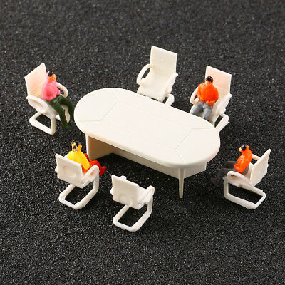 2 Sets 1:50 Scale Conference Room Table & Chairs Plastic Model Furniture Decor