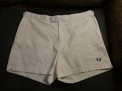 Vintage FRED PERRY White Tennis Shorts Sz 40