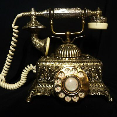 Vintage French Victorian Style ROTARY PHONE Solid Heavy Brass Metal Ornamental