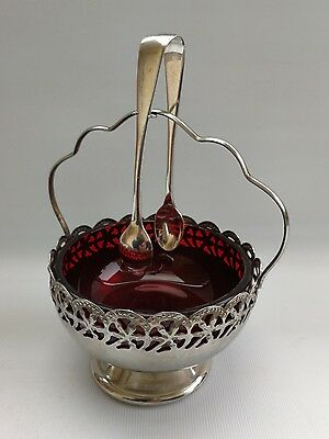 Vintage Antique Silver Plate Sugar Bowl - Cranberry Red Glass Liner & Tongs
