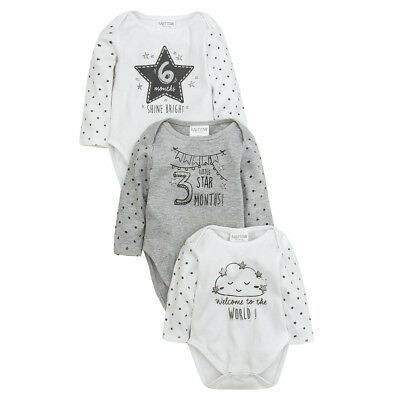 Baby Girls Boys Unisex Babygrows 3 Pack Romper Gift Set Full Sleeved NB-6 Months