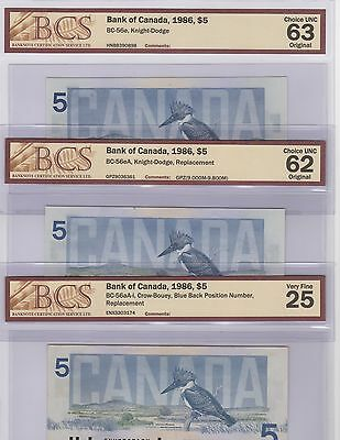 1986 Bank of Canada Lot of 3 Notes Including Replacement Notes