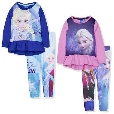 Disney Frozen Girls Long Sleeve Outfit Clothes Set Tunic Leggings 2 pcs 2-8 Yrs