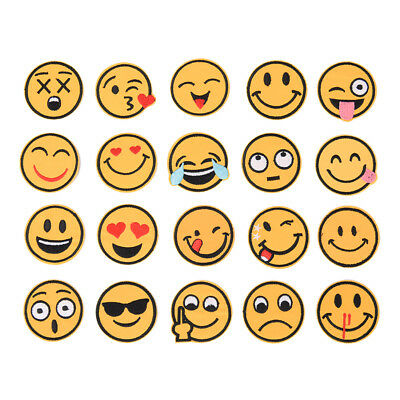 20X Emoji Emotion Embroidery Iron On Applique Patch Sticker Sewing Craft To