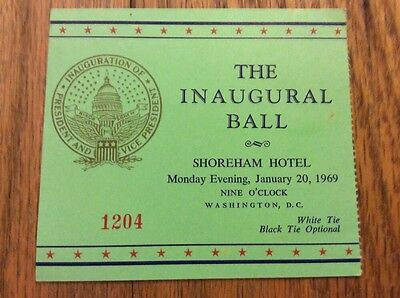 1969 Inauguration Inaugural Ball Ticket President Richard Nixon VP Spiro Agnew