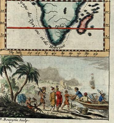 Africa Port of Ophir Old Testament Tarsus merchants trade 1739 old miniature map