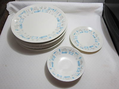 Blue Heaven Royal China Atomic   6 Dinner   2 salad  1 Bowl    9 Pcs